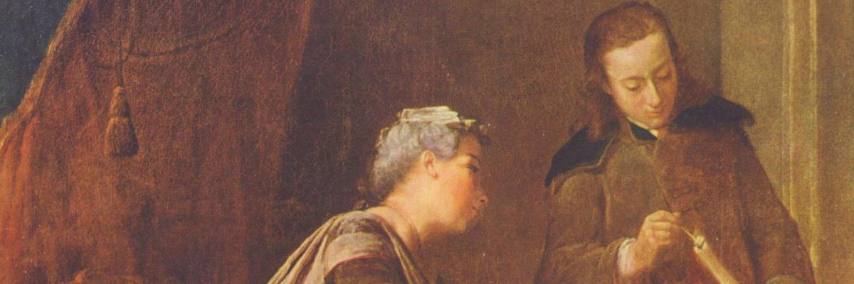 Femme occupée à cacheter une lettre (Lady Sealing a Letter), by Jean-Baptiste-Siméon Chardin (circa 1732)
